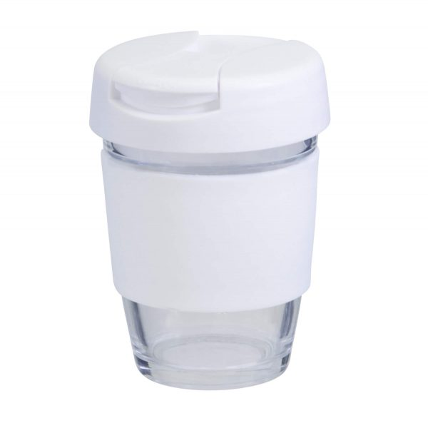Karma Kup Plastic with Flip Lid Coloured Band 340ml G1799P White