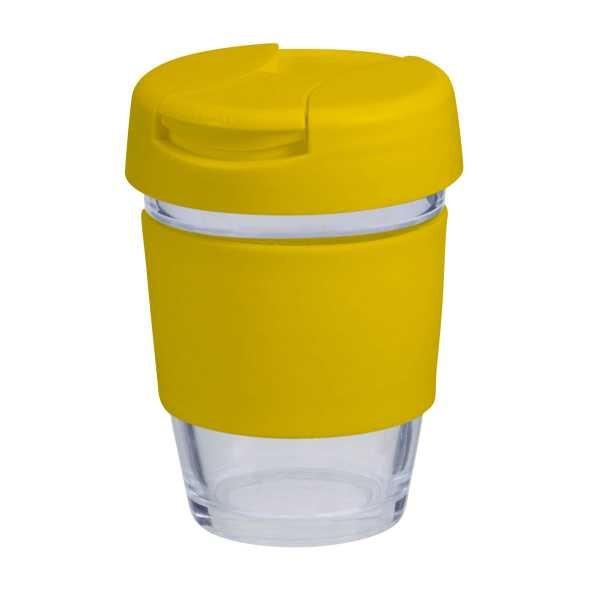 Karma Kup Plastic with Flip Lid Coloured Band 340ml G1799P Yellow