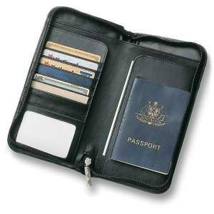 Leather Travel Wallet CA9018BK Black Open