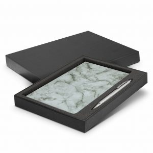 Marble Notebook and Pen Gift Set 116692 Grey in Black Gift Box with Pen