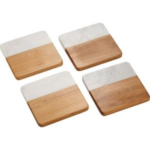 Marble and Bamboo Coaster CA1425 Set of 4
