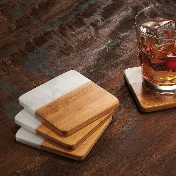 Marble and Bamboo Coaster CA1425 Set of 4 with Glass