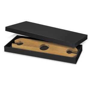 Marlborough Wine Glass Holder CA116731 Natural in Black Gift Box