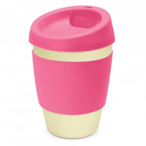 Metro Bamboo Cup Logo Promotional Reusable Coffee Cup 116266 Pink