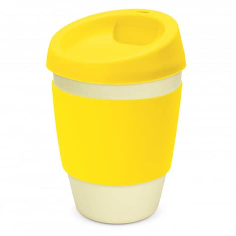 Metro Bamboo Cup Logo Promotional Reusable Coffee Cup 116266 Yellow