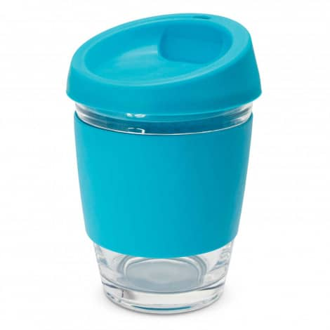 Metro Glass Cup Logo Promotional Reusable Coffee Cup 113053 Light Blue