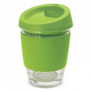 Metro Glass Cup Logo Promotional Reusable Coffee Cup 113053 Lime Green