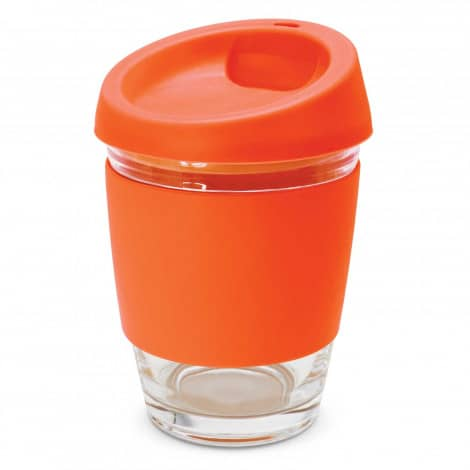 Metro Glass Cup Logo Promotional Reusable Coffee Cup 113053 Orange