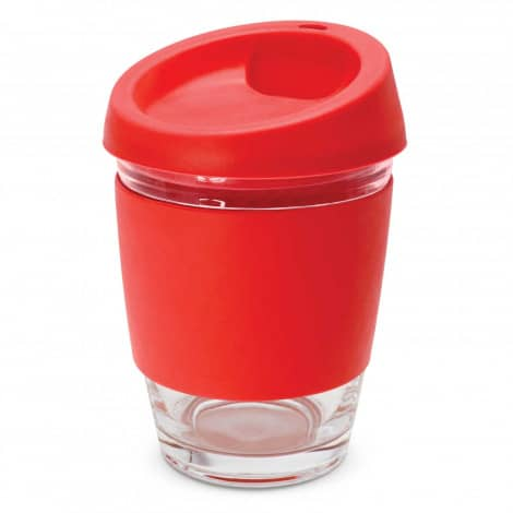 Metro Glass Cup Logo Promotional Reusable Coffee Cup 113053 Red
