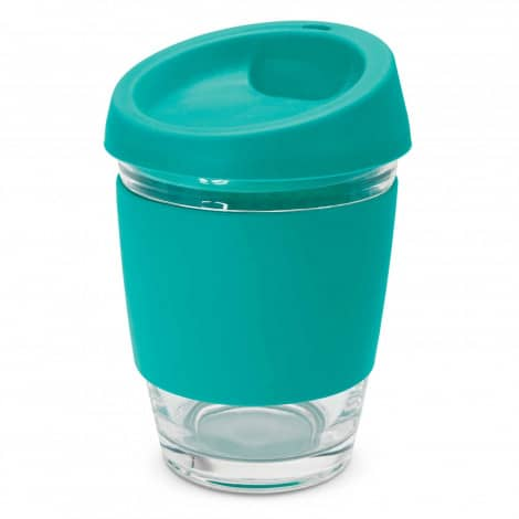 Metro Glass Cup Logo Promotional Reusable Coffee Cup 113053 Teal