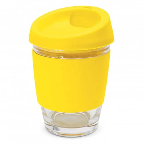 Metro Glass Cup Logo Promotional Reusable Coffee Cup 113053 Yellow