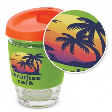 Metro Glass Cup Logo Promotional Reusable Coffee Cup 113053 with branding