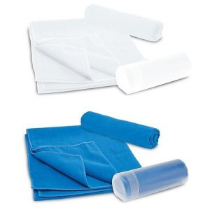 Microfibre Sports Towel In Container CAM200 White