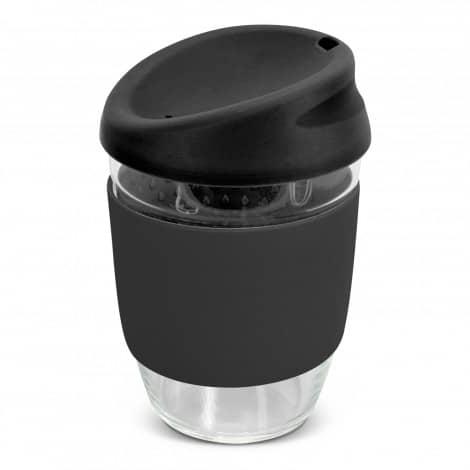 Nova Cup Borosilicate 350ml Logo Promotional Reusable Coffee Cup 117372 Black