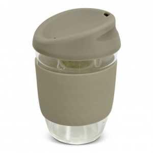 Nova Cup Borosilicate 350ml Logo Promotional Reusable Coffee Cup 117372 Grey