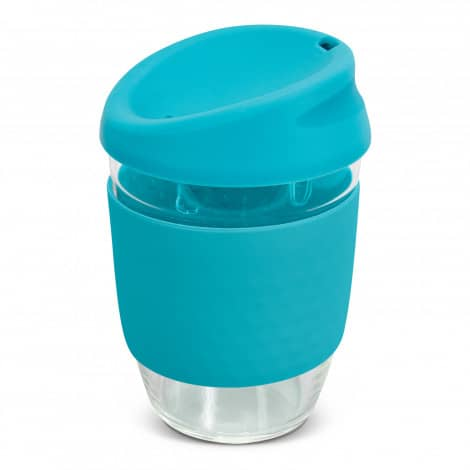Nova Cup Borosilicate 350ml Logo Promotional Reusable Coffee Cup 117372 Light Blue