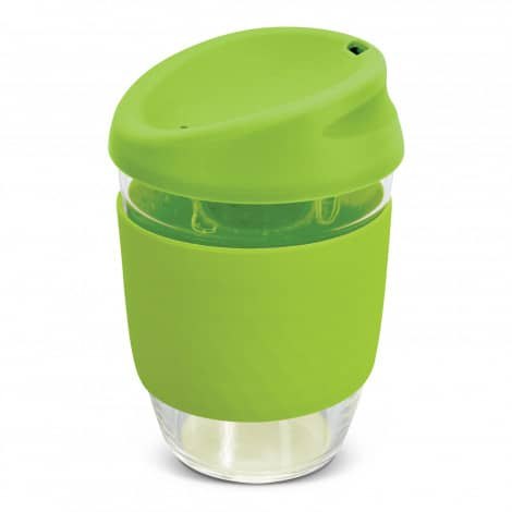Nova Cup Borosilicate 350ml Logo Promotional Reusable Coffee Cup 117372 Lime Green