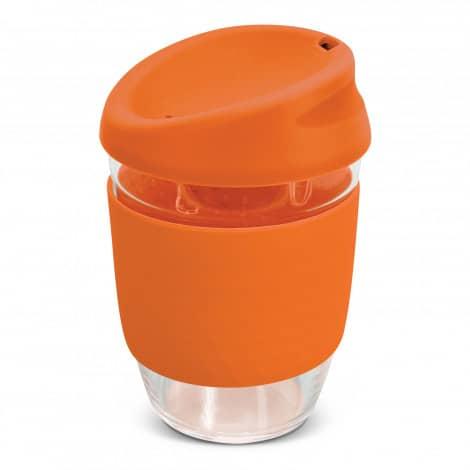 Nova Cup Borosilicate 350ml Logo Promotional Reusable Coffee Cup 117372 Orange