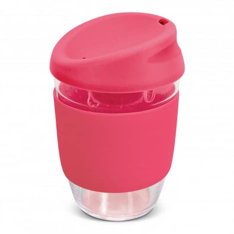 Nova Cup Borosilicate 350ml Logo Promotional Reusable Coffee Cup 117372 Pink