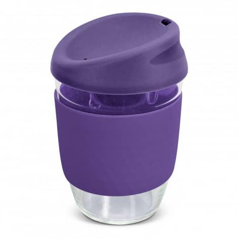 Nova Cup Borosilicate 350ml Logo Promotional Reusable Coffee Cup 117372 Purple
