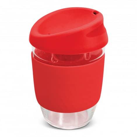 Nova Cup Borosilicate 350ml Logo Promotional Reusable Coffee Cup 117372 Red