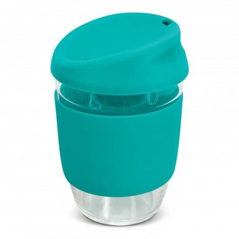 Nova Cup Borosilicate 350ml Logo Promotional Reusable Coffee Cup 117372 Teal