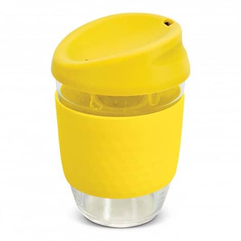 Nova Cup Borosilicate 350ml Logo Promotional Reusable Coffee Cup 117372 Yellow