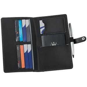 PVC Passport Wallet CA9120BK Black Grey Open