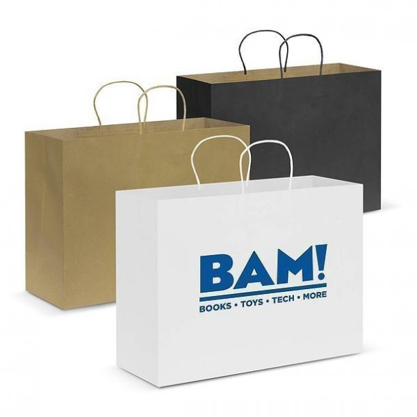 Paper Carry Bag CA107594 White Black Natural Extra Large
