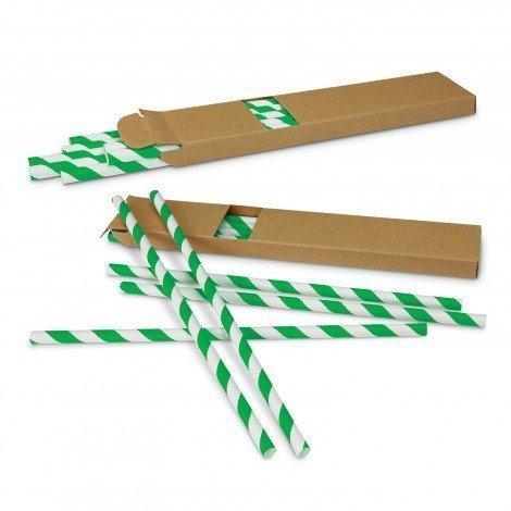 Paper Drinking Straws 116798 White Green
