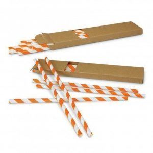 Paper Drinking Straws 116798 White Orange