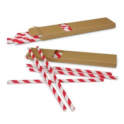 Paper Drinking Straws 116798 White Red