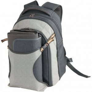 Picnic Backpack Cooler with Picnic Blanket TK1007GY Charcoal Grey with Picnic Blanket