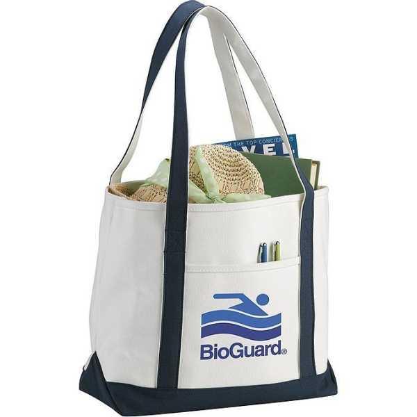 Premium Heavy Weight Cotton Boat Tote 5064RD Cream Blue