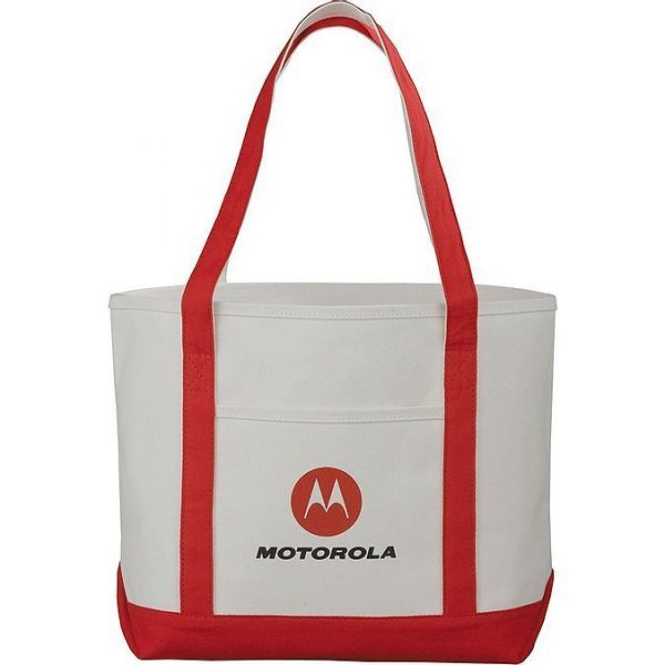 Premium Heavy Weight Cotton Boat Tote 5064RD Cream Red