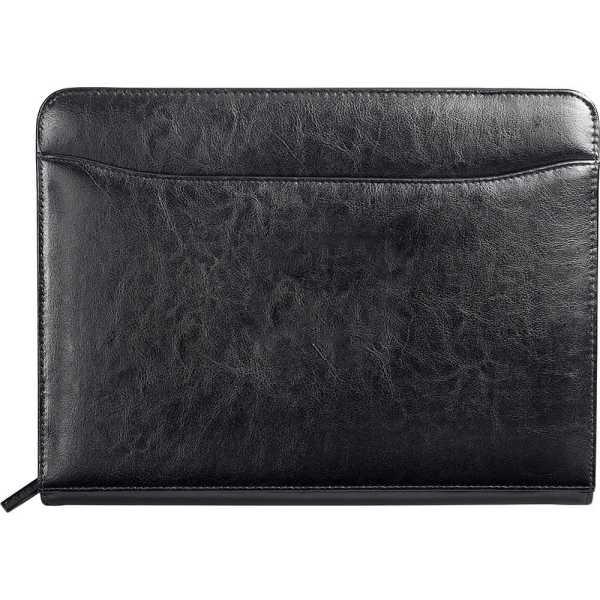 Renaissance Zippered Bonded Leather Padfolio 898BK Black Front