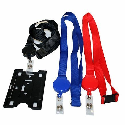 Retractable Badge Holder CA216BK Red Blue Black With ID Badge
