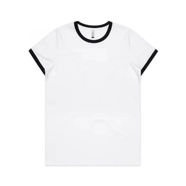 Ringer T Shirts Womans 4053 Black