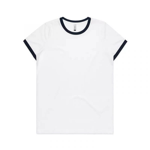Ringer T Shirts Womans 4053 Navy