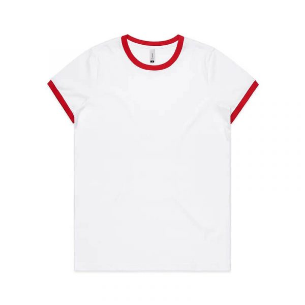 Ringer T Shirts Womans 4053 Red