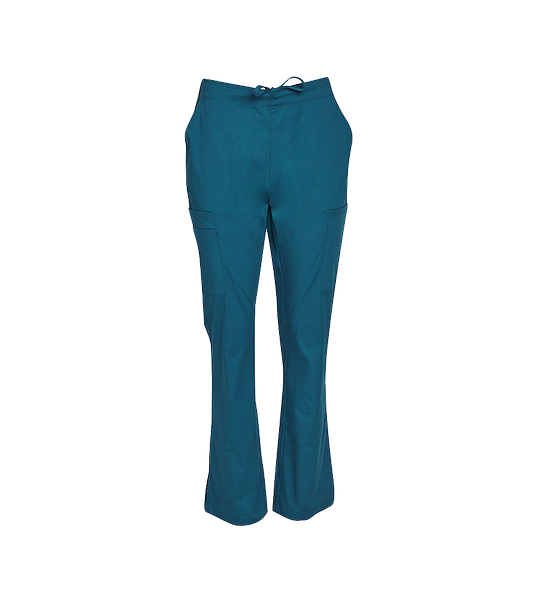 Semi Elastic Waist Solid Scrub Pants Womens M9720 Green