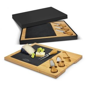 Slate Cheese Board CA115959 Natural with Black Gift Box