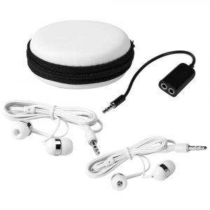 Sound Off Earbuds and Splitter CA7758WH with Case and Accessories White