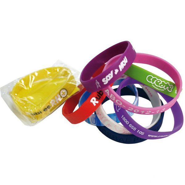 Standard 12mm Silicon Wristbands CASIL 101 Various Colours