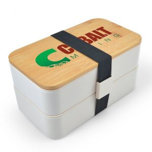 Stax Eco Lunch Box CALL6366 Natural Stacked with Closure Band Branded