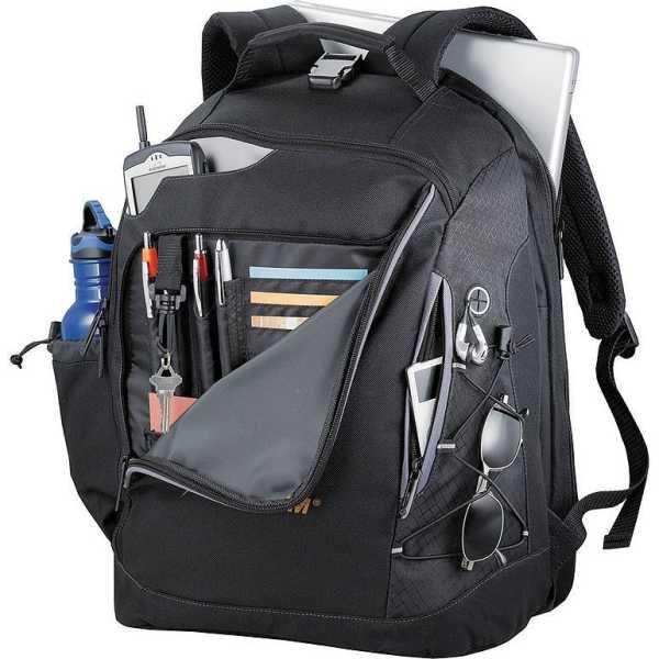 Summit TSA 15 inch Computer Backpack Black 5161BK Open