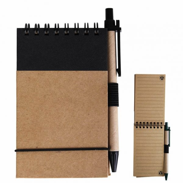 Tradie Cardboard Notebook with Pen LL8334 Natural Black