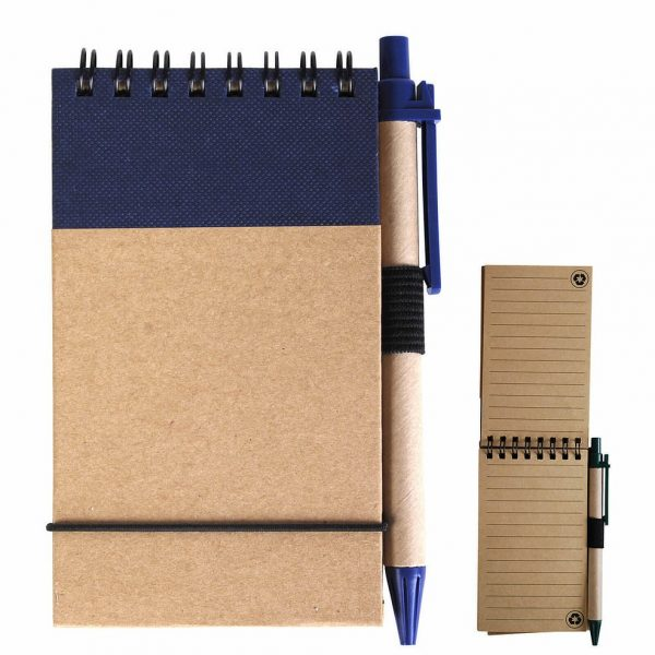 Tradie Cardboard Notebook with Pen LL8334 Natural Blue