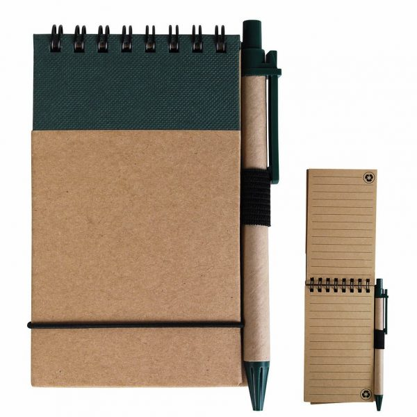 Tradie Cardboard Notebook with Pen LL8334 Natural Green