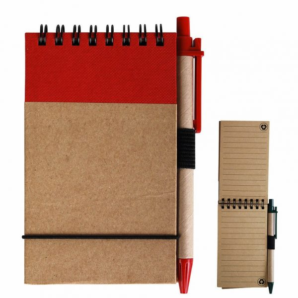 Tradie Cardboard Notebook with Pen LL8334 Natural Red